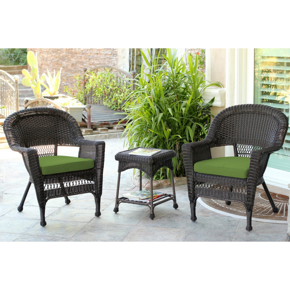 espresso wicker chair and end table set with hunter green chair cushion