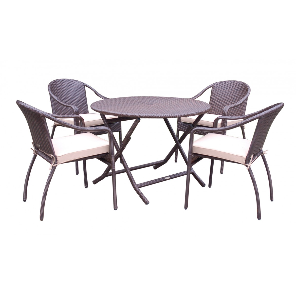 5pcs cafe curved back chairs and folding wicker table - Folding dining table and chair set ...
