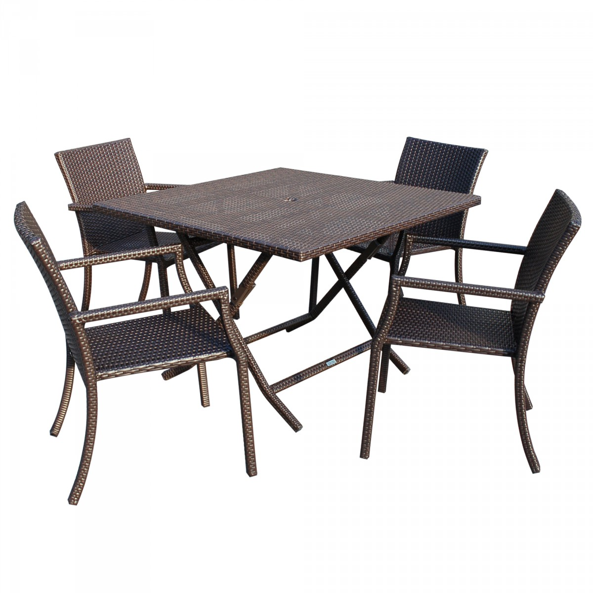 5pcs Cafe Square Back Chairs And Folding Wicker Table Dining Set