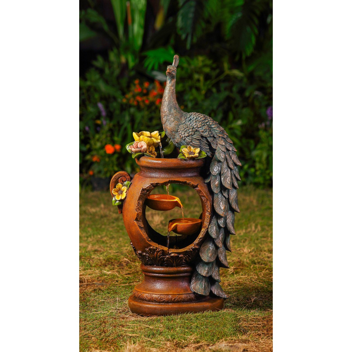 Outdoor fountains peacock water fountain with led lighting workwithnaturefo