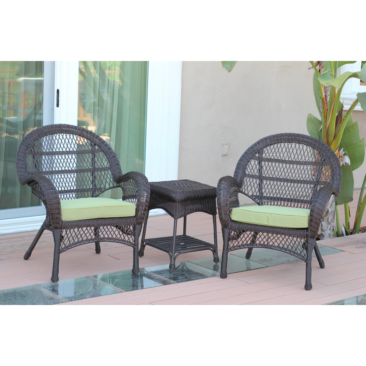 santa maria espresso wicker chair and end table set green cushions