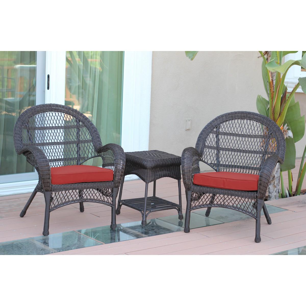Santa Maria Espresso Wicker Chair And End Table Set