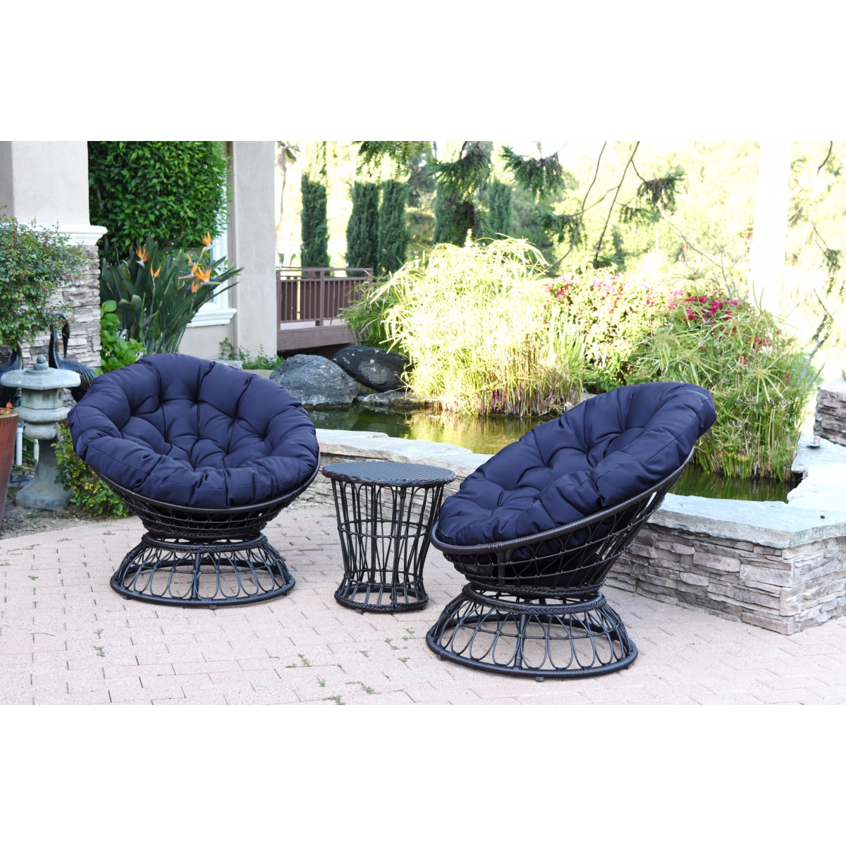 Papasan Espresso Wicker Swivel Chair And Table Set With Blue Cushion
