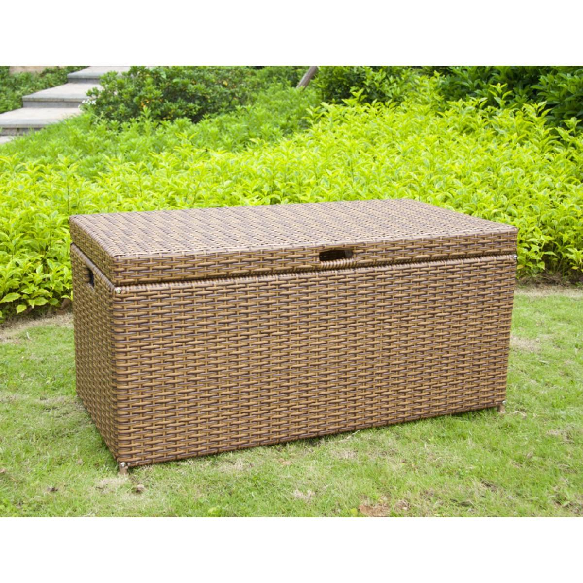 Outdoor Honey Resin Wicker Storage Deck Box