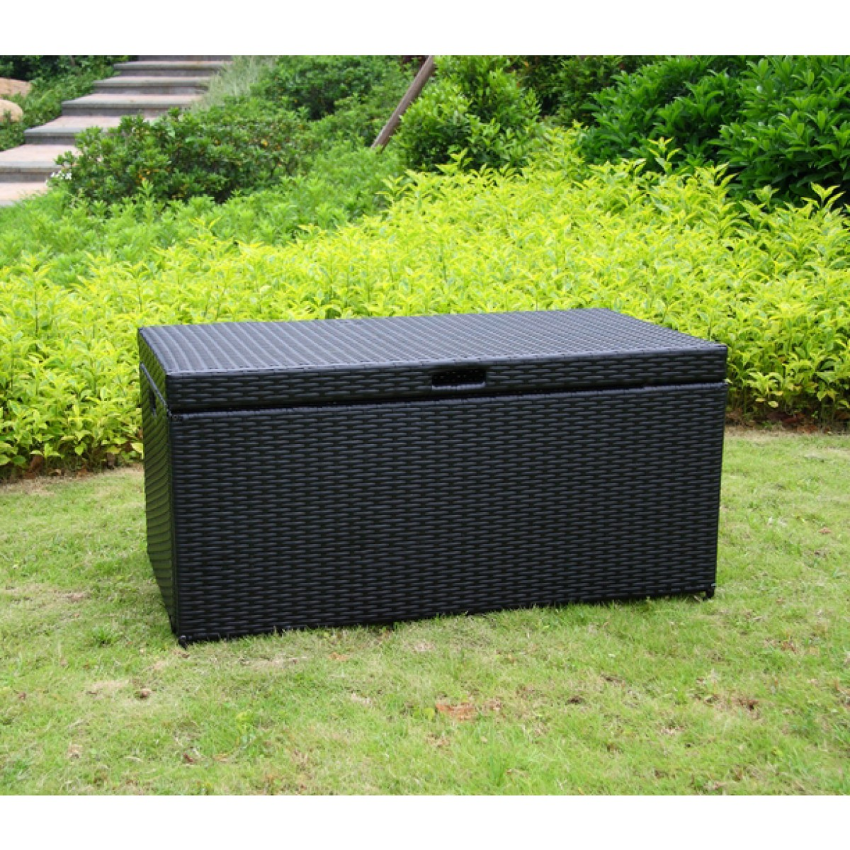 Outdoor Black Resin Wicker Storage Deck Box