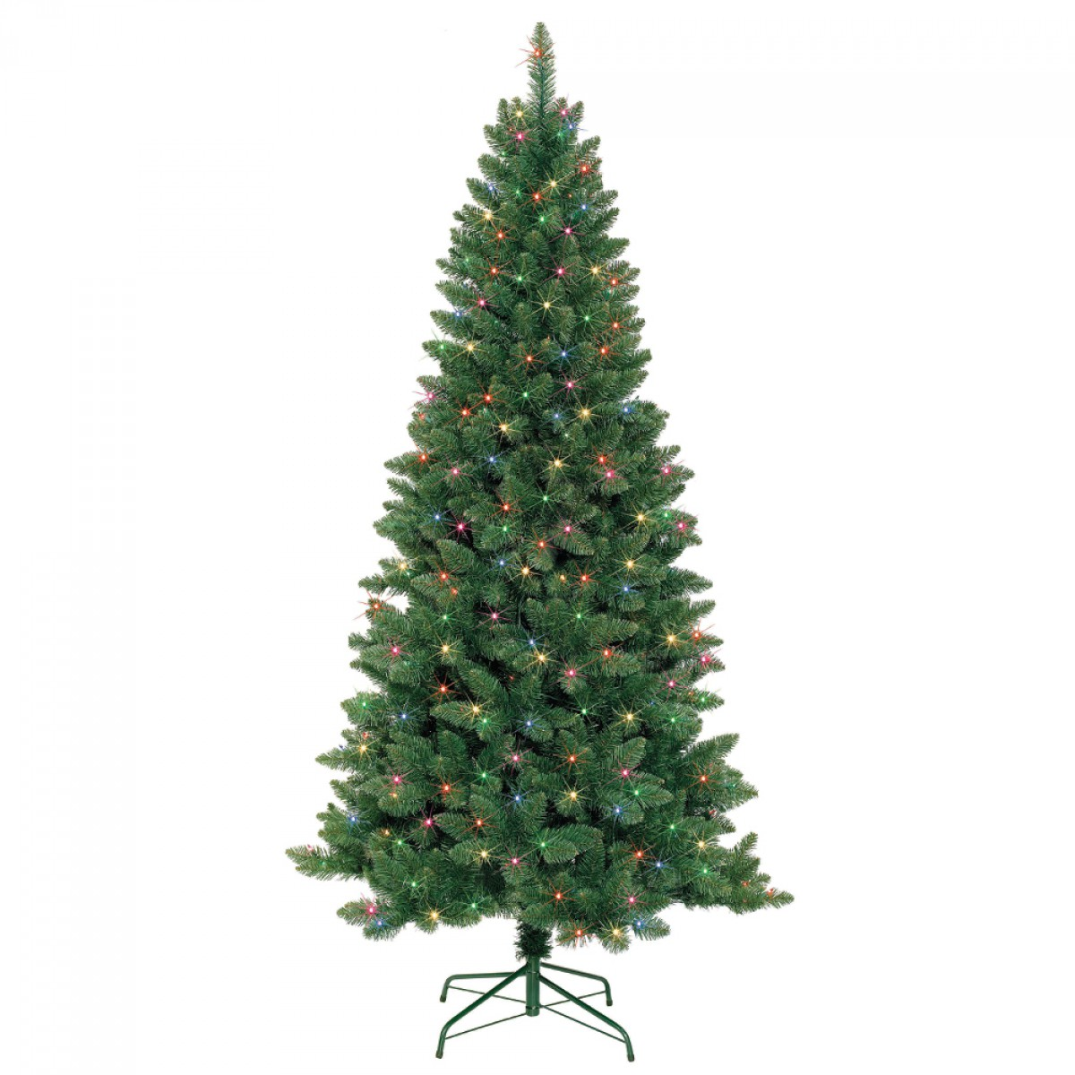 7 Feet. Slim Pre-Lit Artificial Christmas Tree With Metal