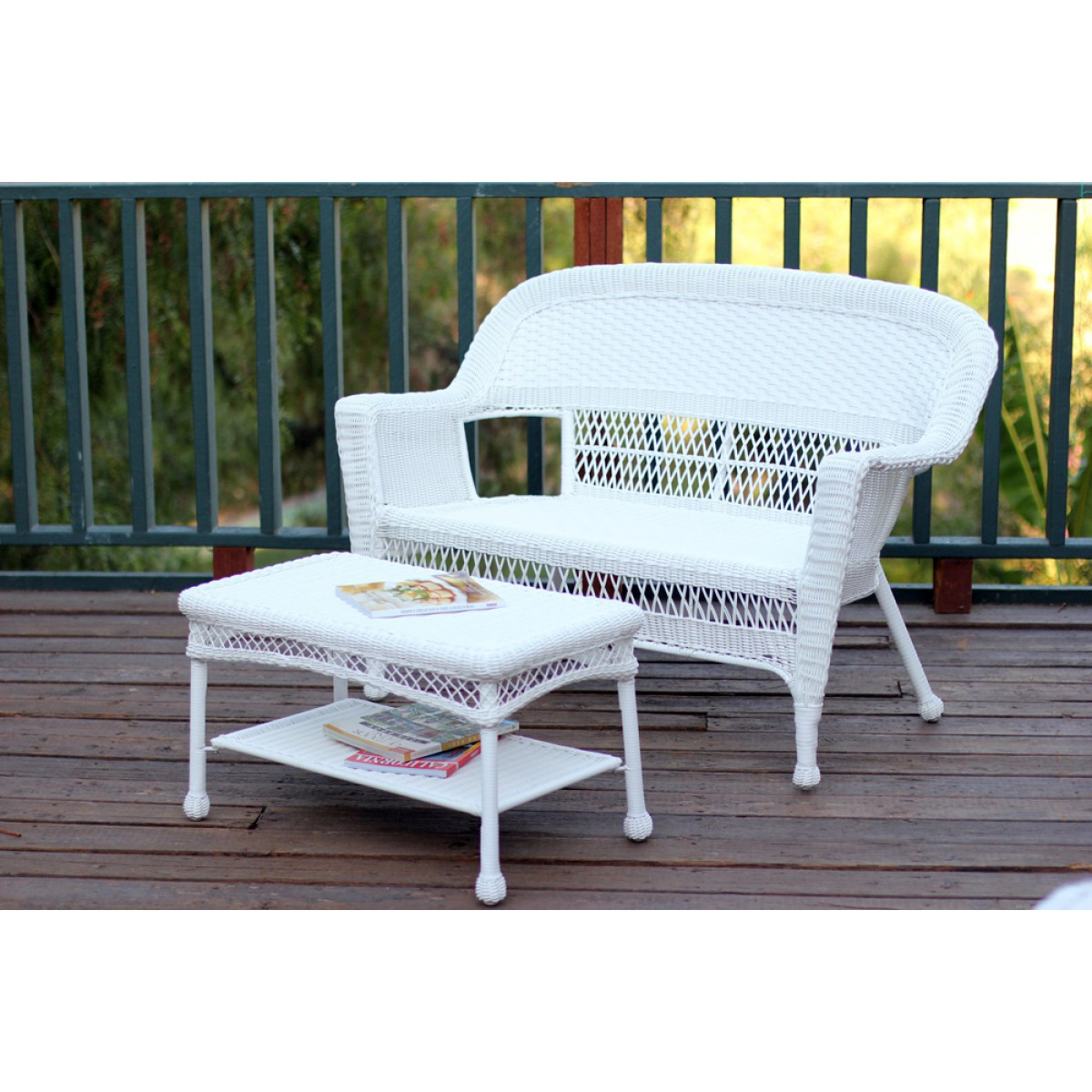 White wicker patio love seat and coffee table set without for Outdoor furniture without cushions