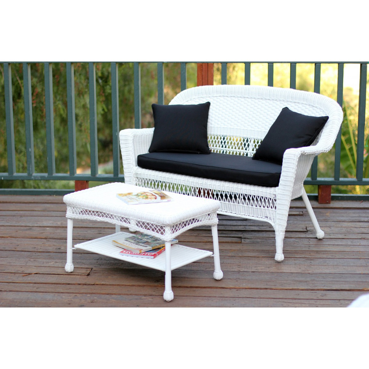 Honey Wicker Patio Love Seat And Coffee Table Set With Orange Cushion