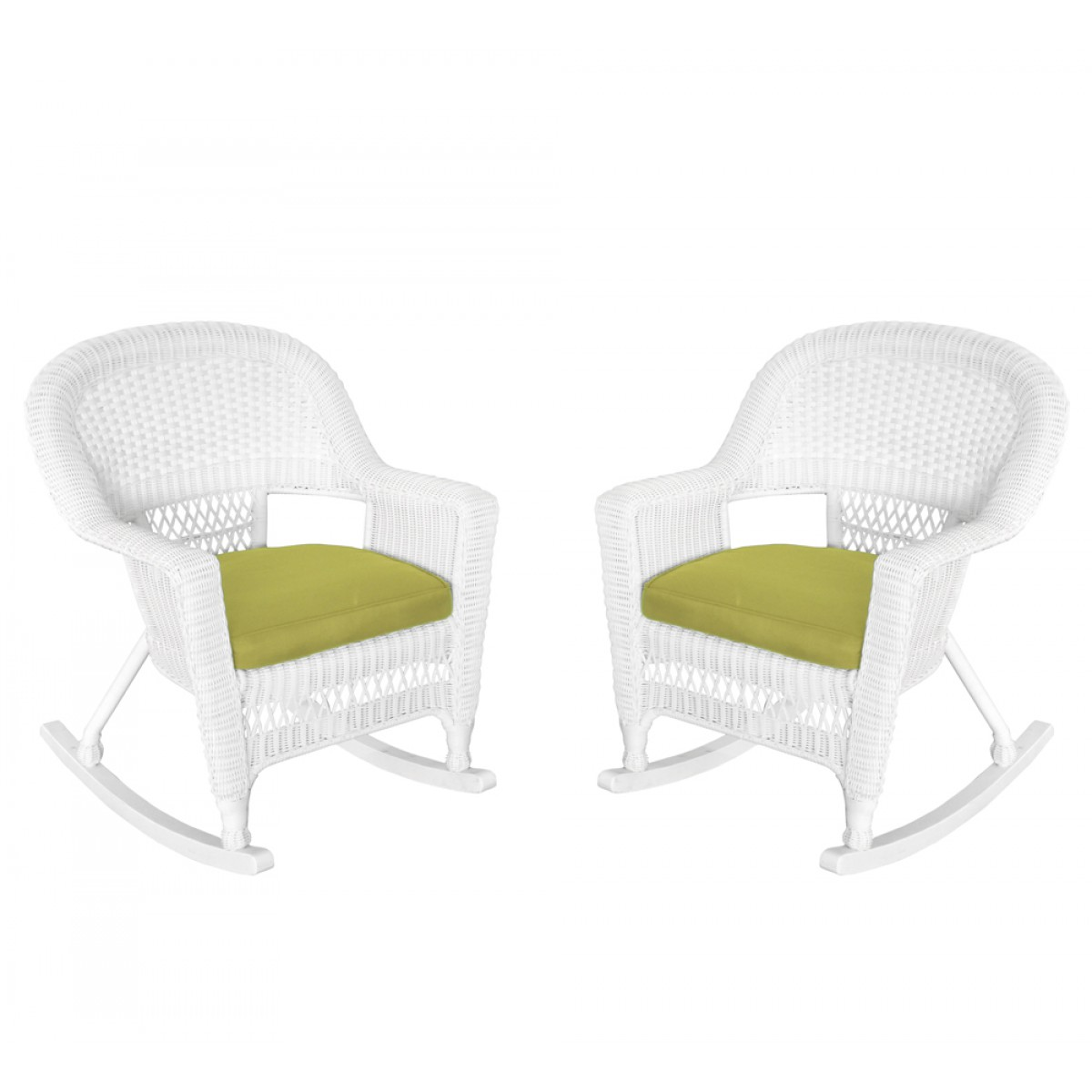 home white rocker wicker chair with green cushion set of 2