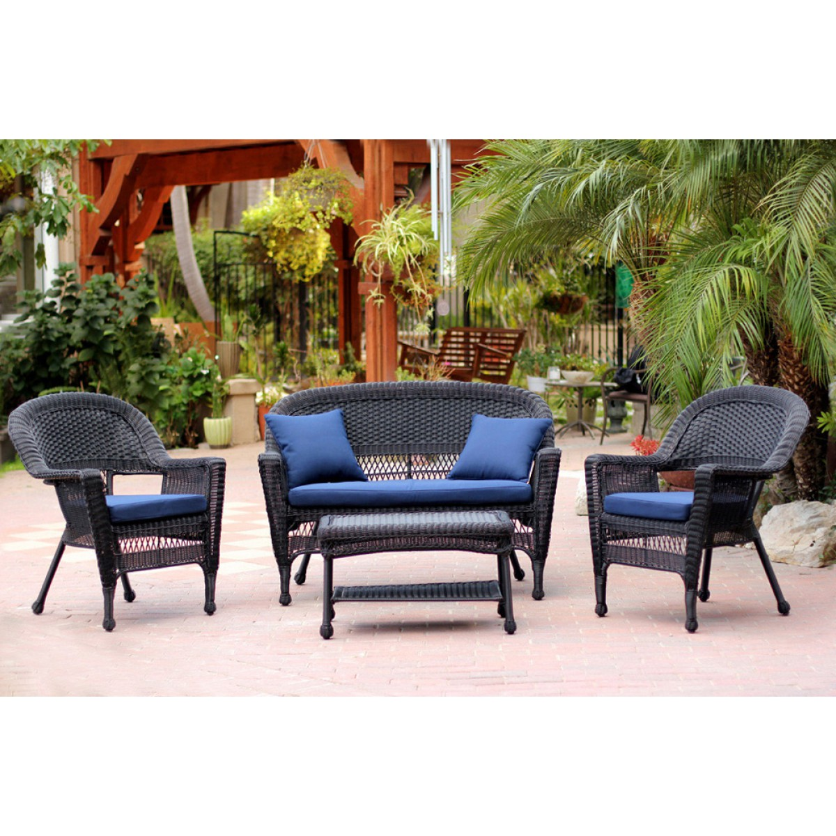 4pc Black Wicker Conversation Set Navy Blue Cushions