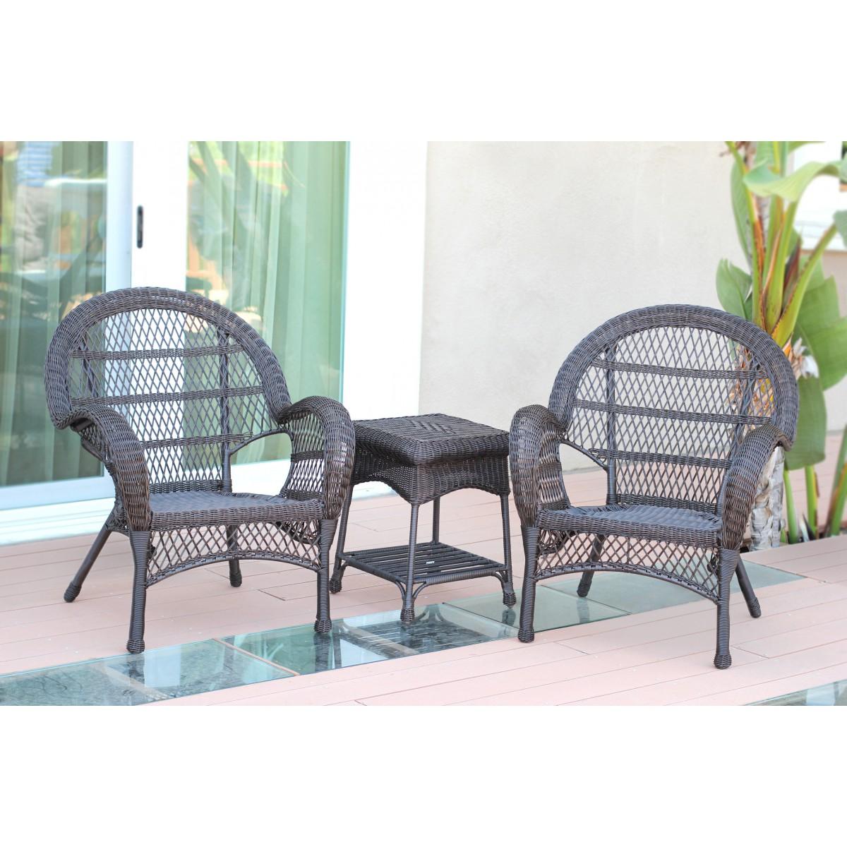 3pc Santa Maria Espresso Wicker Chair Set Without Cushion