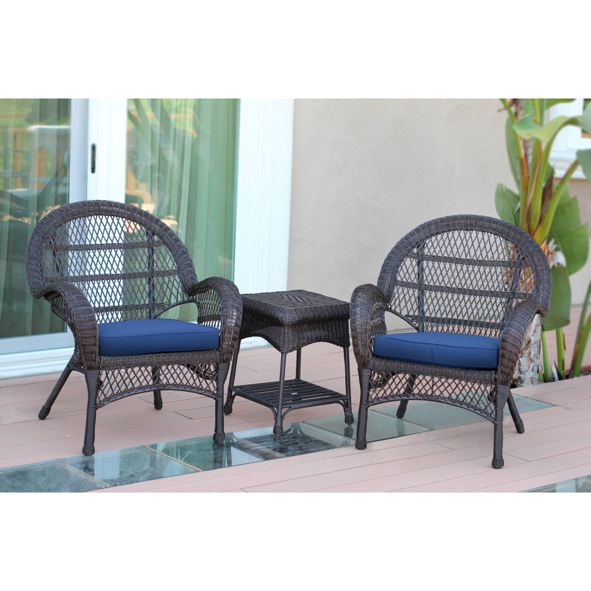 3pc Santa Maria Espresso Wicker Chair Set   Midnight Blue Cushions