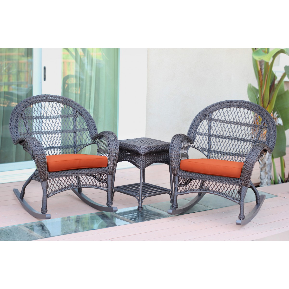 3pc Santa Maria Espresso Rocker Wicker Chair Set Orange