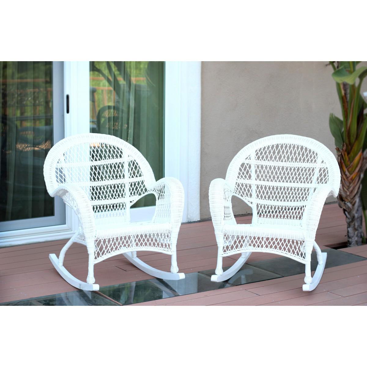 Santa Maria White Rocker Wicker Chair Set Of 2