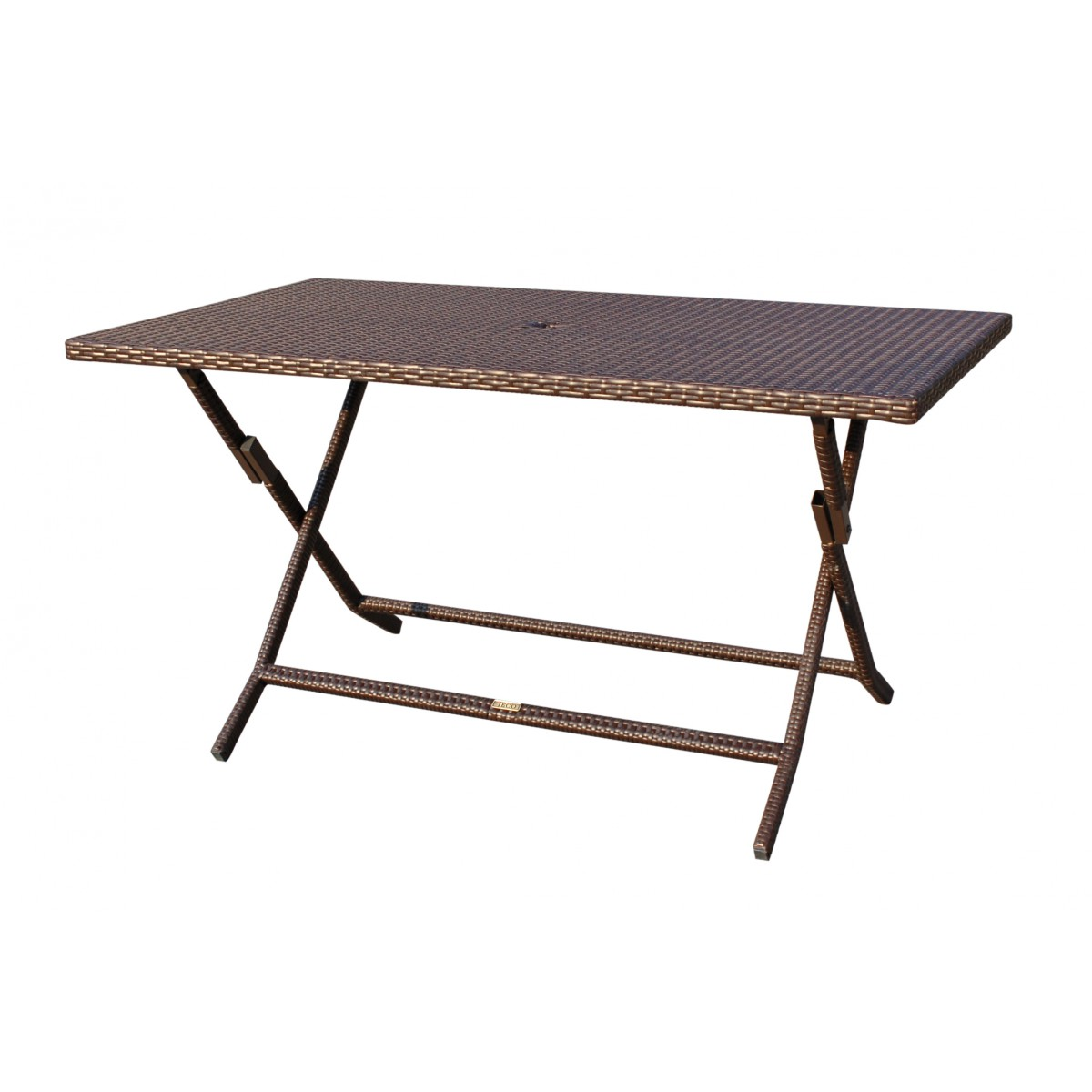 Cafe Square Folding Table with wicker on leg