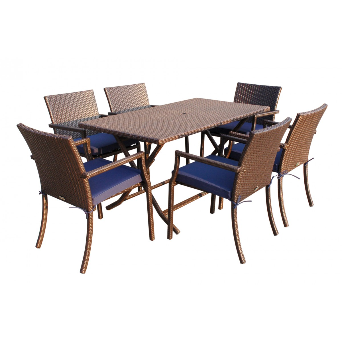 Cafe Square Back Chairs and Folding Wicker Buffet Table Set Blue