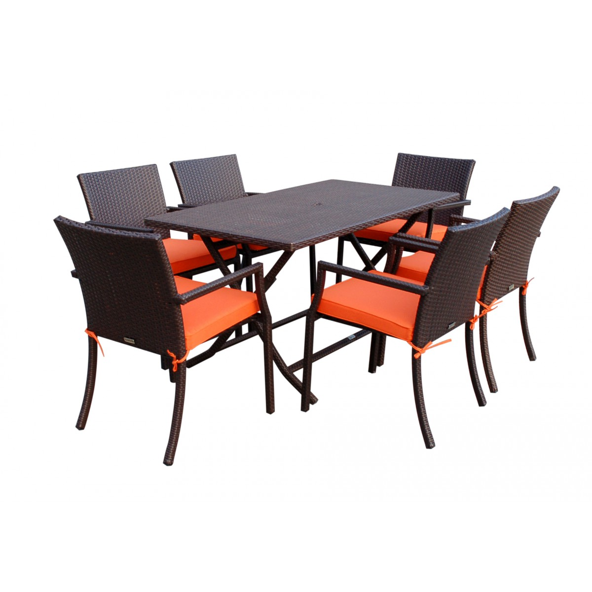 7pcs Cafe Square Back Chairs And Folding Wicker Buffet
