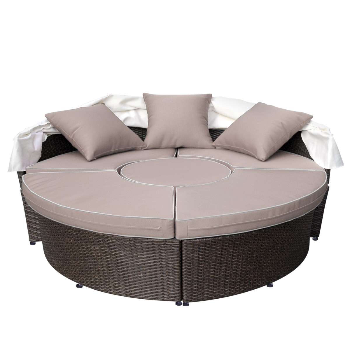 All Weather Wicker Sectional Daybed Tan Cushions