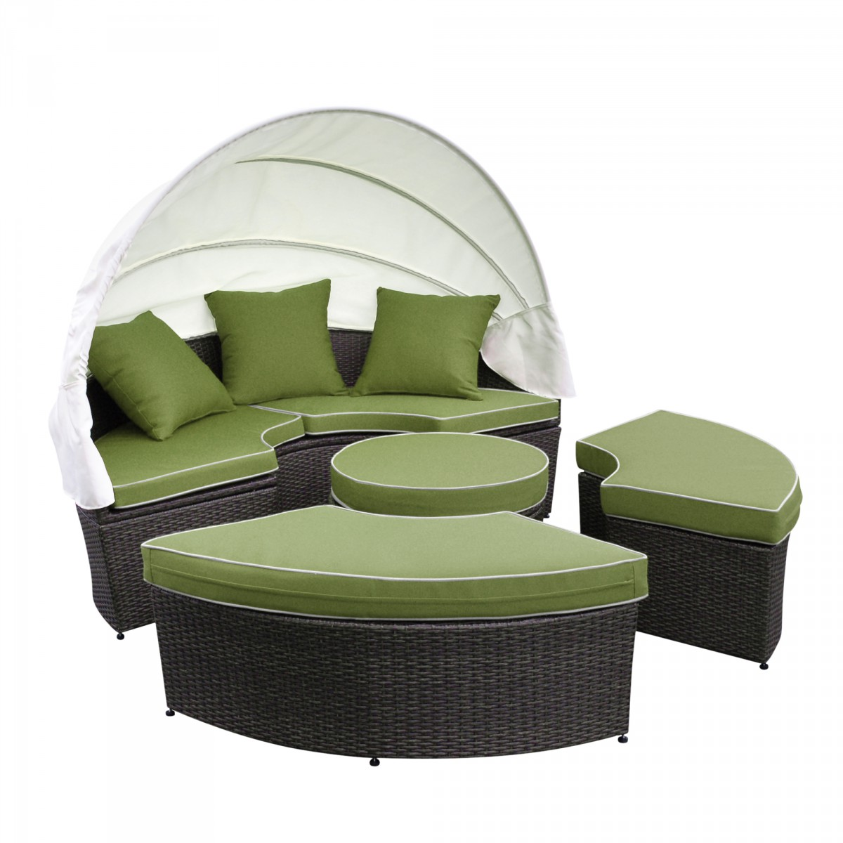 All Weather Wicker Sectional Daybed Green Cushions