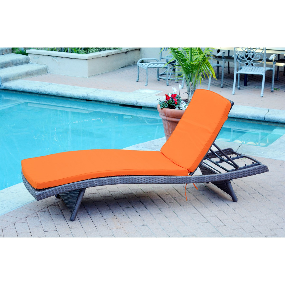 Outdoor wicker patio furniture chaise lounger with brick for Chaise orange