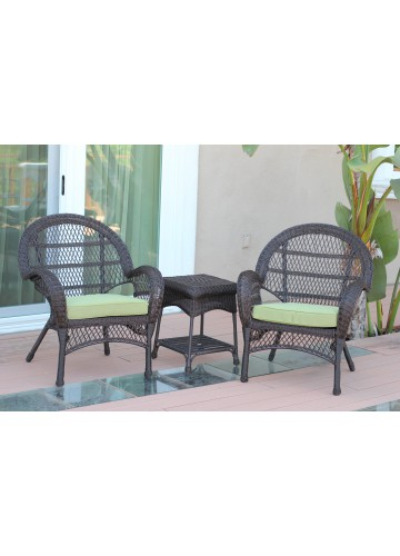3pc Santa Maria Espresso Wicker Chair Set - Green Cushions