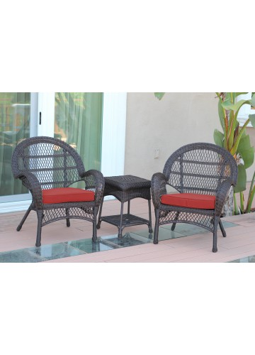 3pc Santa Maria Espresso Wicker Chair Set - Brick Red Cushions