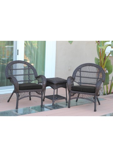 3pc Santa Maria Espresso Wicker Chair Set- Black Cushions