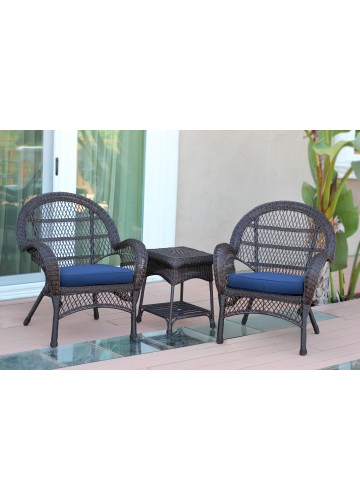 3pc Santa Maria Espresso Wicker Chair Set - Midnight Blue Cushions