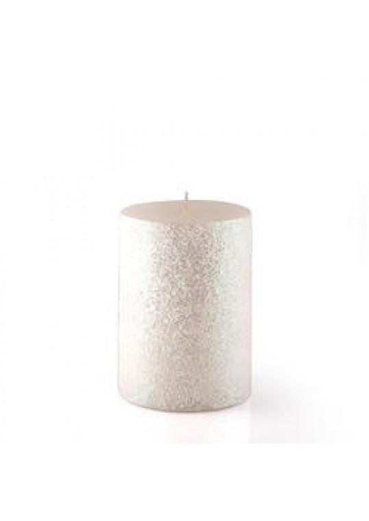 "3 x 4"" Metallic White Glitter Pillar Candle (12pcs/Case) Bulk"