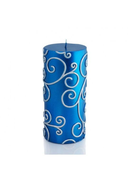 "3 x 6"" Blue Scroll Pillar Candle (12pcs/Case) Bulk"