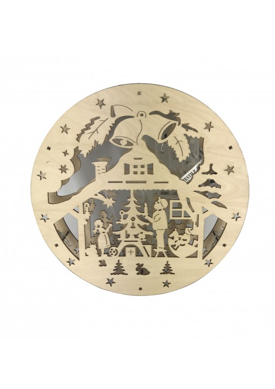 Plywood Laser Cut Nativity Set With Lights