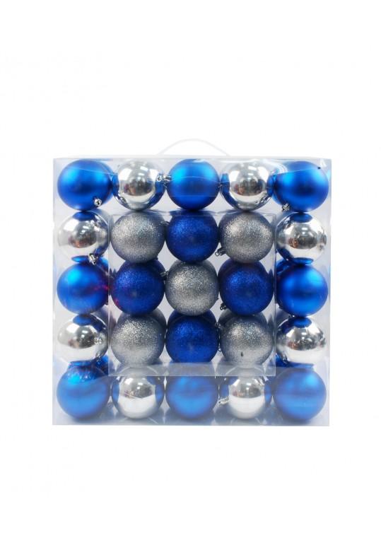50Pk 75Mm Plastic Ornaments -Blue/Silver