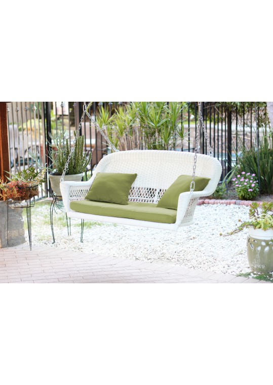 White Resin Wicker Porch Swing with Sage Green Cushion