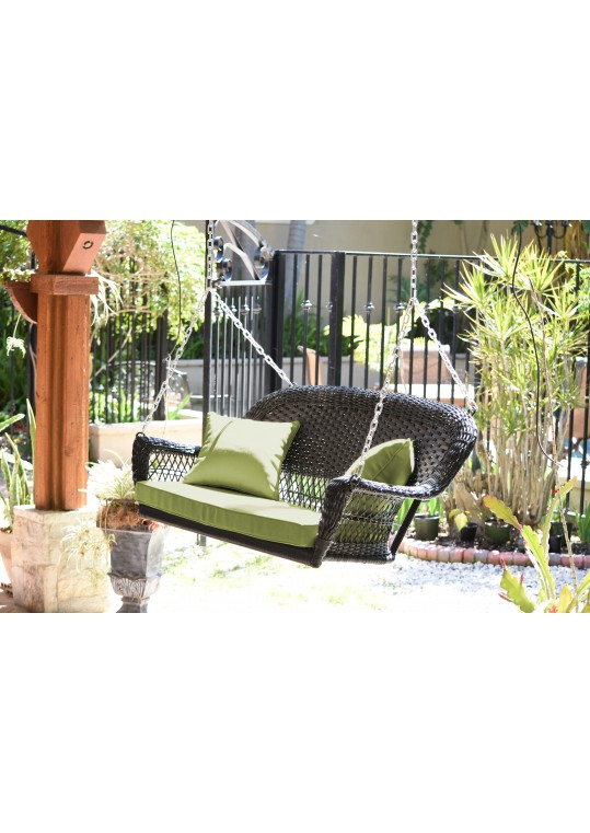 Black Resin Wicker Porch Swing with Sage Green Cushion