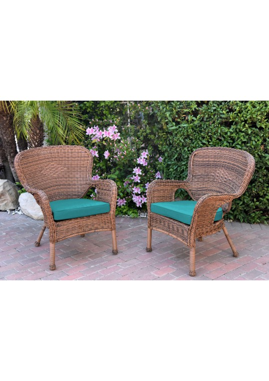 Set of 2 Windsor Honey Resin Wicker Chair with Turquoise Cushion