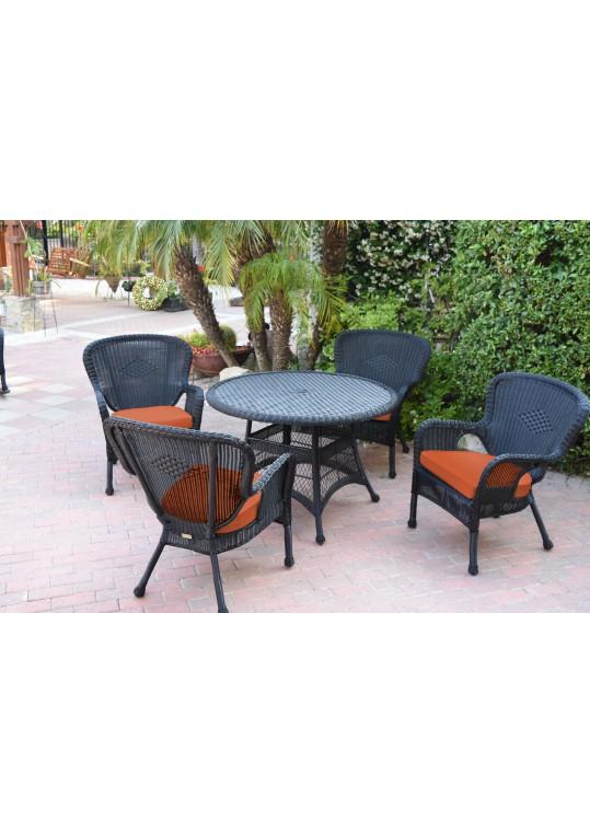 5pc Windsor Black Wicker Dining Set - Orange Cushions