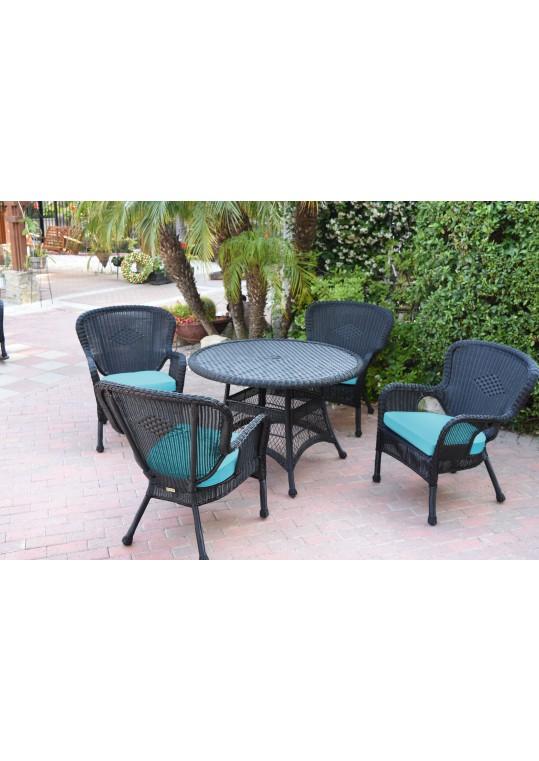 5pc Windsor Black Wicker Dining Set - Sky Blue Cushions
