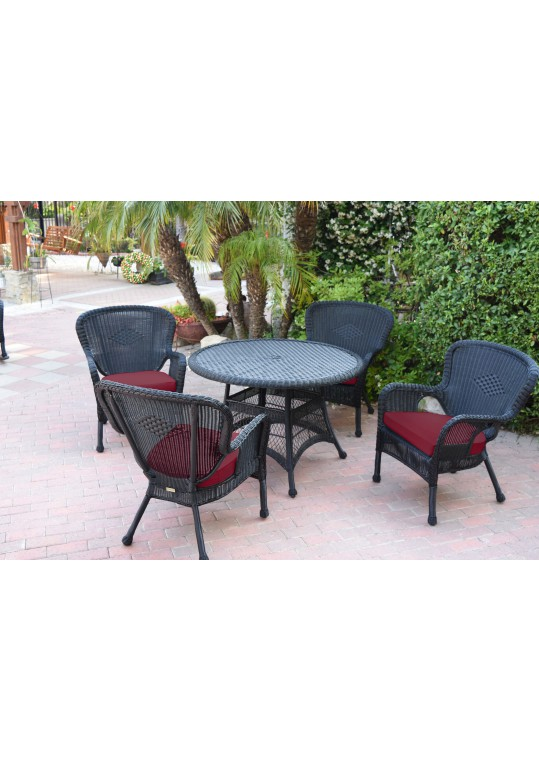 5pc Windsor Black Wicker Dining Set - Red Cushions