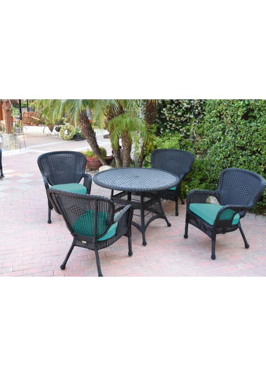 5pc Windsor Black Wicker Dining Set - Turquoise Cushions
