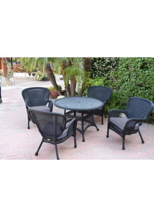 5pc Windsor Black Wicker Dining Set - Steel Blue Cushions
