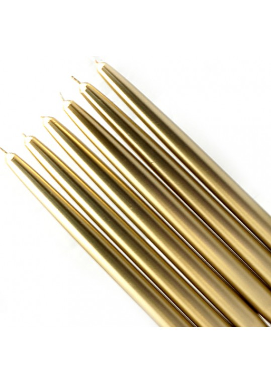 "10"" Metallic Gold Taper Candles (144pcs/Case) Bulk"