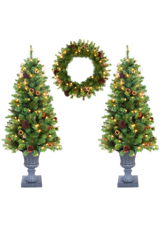 3-Piece 4ft. Christmas Tree and Holiday Wreath Set