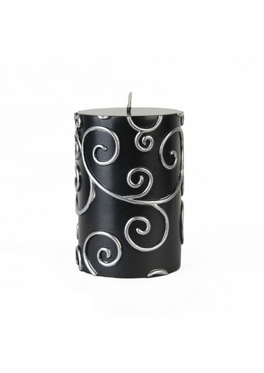 "3 x 4"" Black Scroll Pillar Candle (12pcs/Case) Bulk"