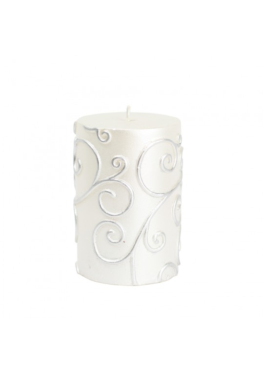 """3 x 4"""" White Scroll Pillar Candle (12pcs/Case) Bulk"""