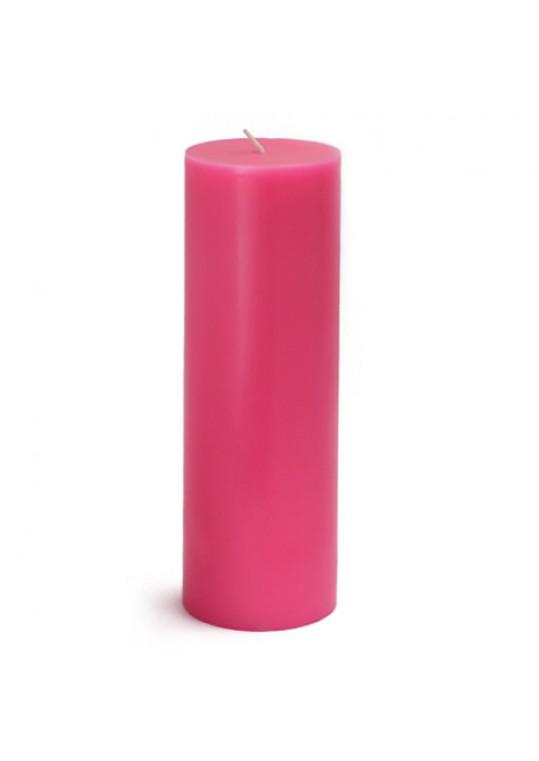 "3 x 9"" Hot Pink Pillar Candles (12pcs/Case) Bulk"