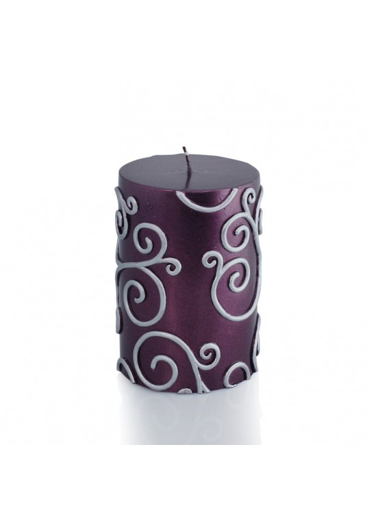 "3 x 4"" Purple Scroll Pillar Candle (12pcs/Case) Bulk"