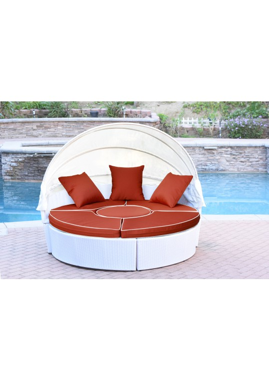 All-Weather White Wicker Sectional Daybed - Red Cushions