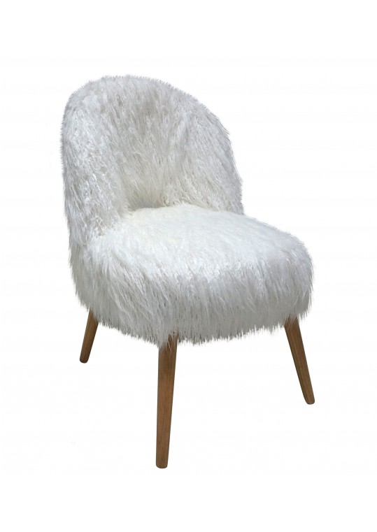 WHITE FAUX FUR CURLY BACK CHAIR W/NATURAL LEGS