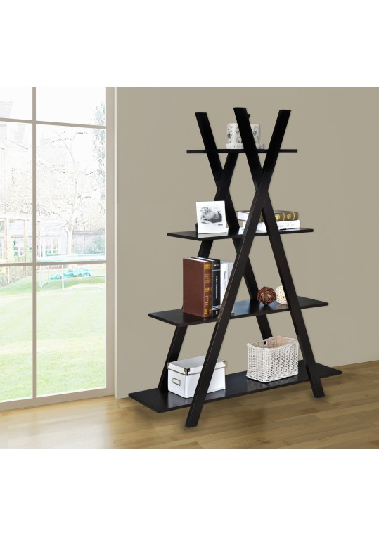 4 Tiers Cross Bookcase - Brown