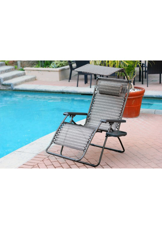 Set of 2 Oversized Zero Gravity Chair with Sunshade and Drink Tray - Black and Tan